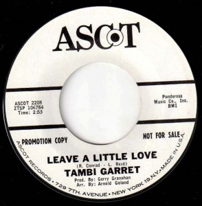 Tambi Garrett's best record.   This song was also recorded by Patti Austin and Lulu.