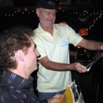 Don Goodson (right) and Don Fedele of the Echoes, enjoying some of the band's memorabilia