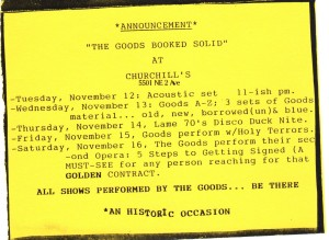 The Goods at Churchill's, 1991