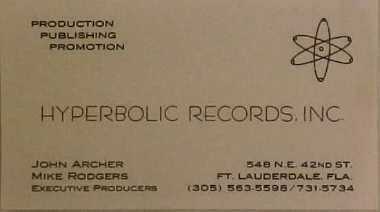 Hyperbolic Records business card, courtesy Rick Kornowski