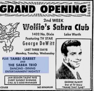 Tambi Garrett, appearing at a Palm Beach County supper club. From the Palm Beach Post, August 19, 1962