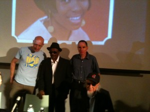 Henry Stone (seated, right) taking part in a music business panel discussion, April 2012