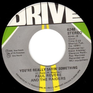 The Raiders turn to the Miami TK Records team to try to get a hit record.  This B-side was written by former Peach keyboard player Bob Wooley and the great soul writer Clarence Reid.