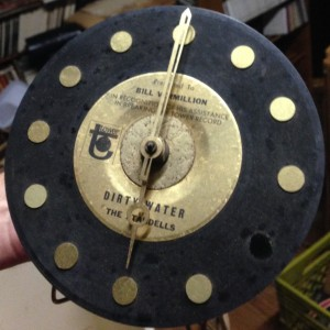 "Bill Vermillion received this super-cool clock as a thank you from Tower Records, for being the first to believe in ""Dirty Water""."