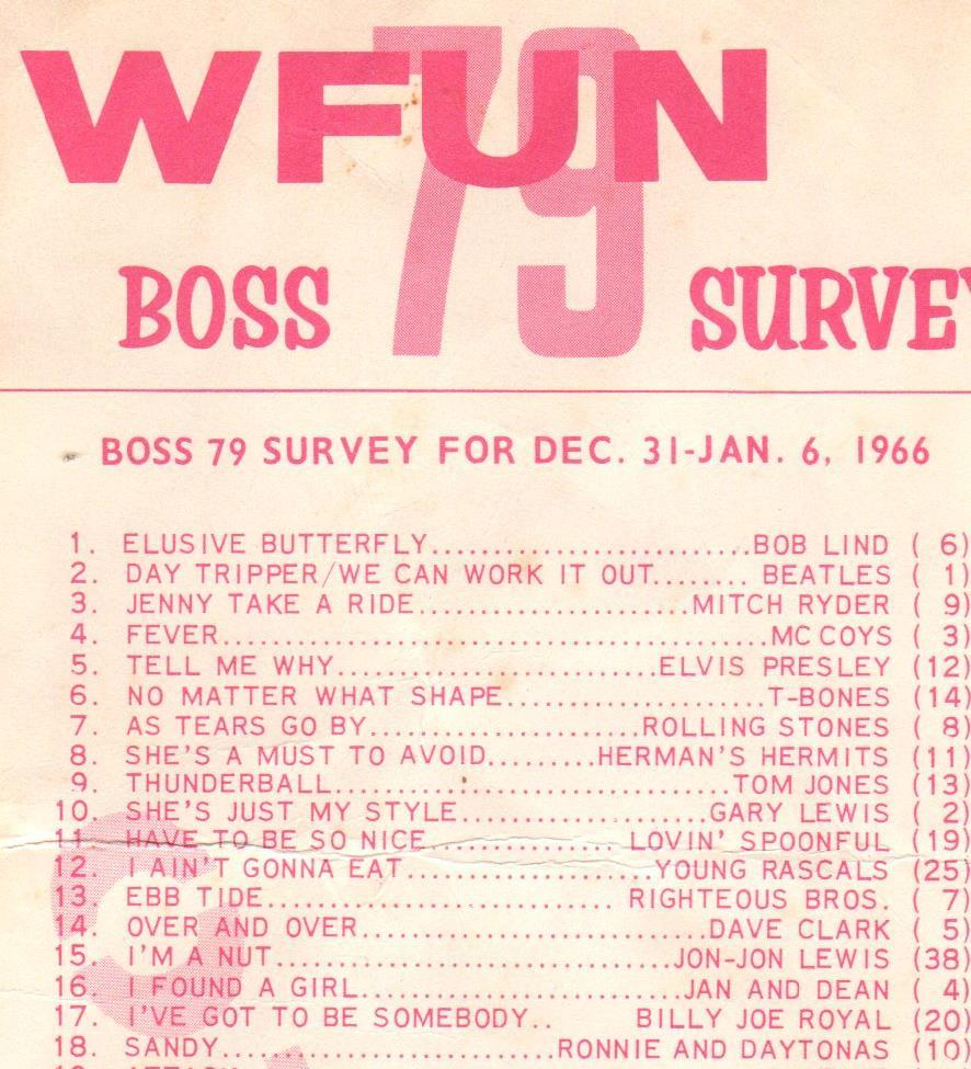 """Elusive Butterfly"" at number one on WFUN"