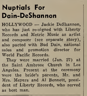 Jackie DeShannon and Bud Dain get married, from Cash Box Magazine